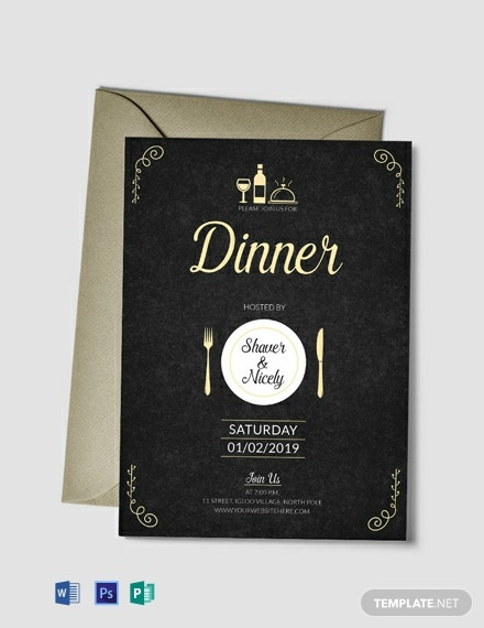 Free Dinner Invitation Card Template