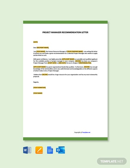 Free Project Manager Recommendation Letter Template