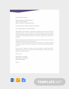 Free Recommendation Letter Template for Scholarship