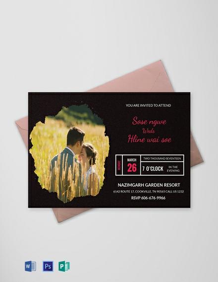 Free Black Engagement Invitation Card Template