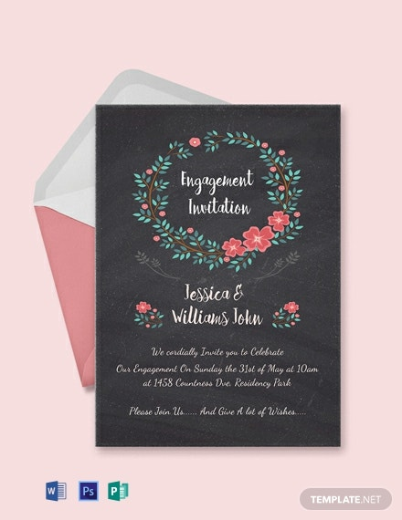 5 Free Engagement Invitation Templates In Microsoft