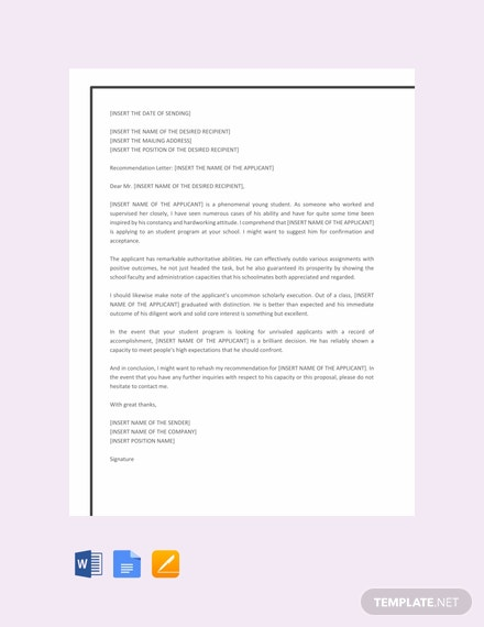 Free Recommendation Letter Template for Student