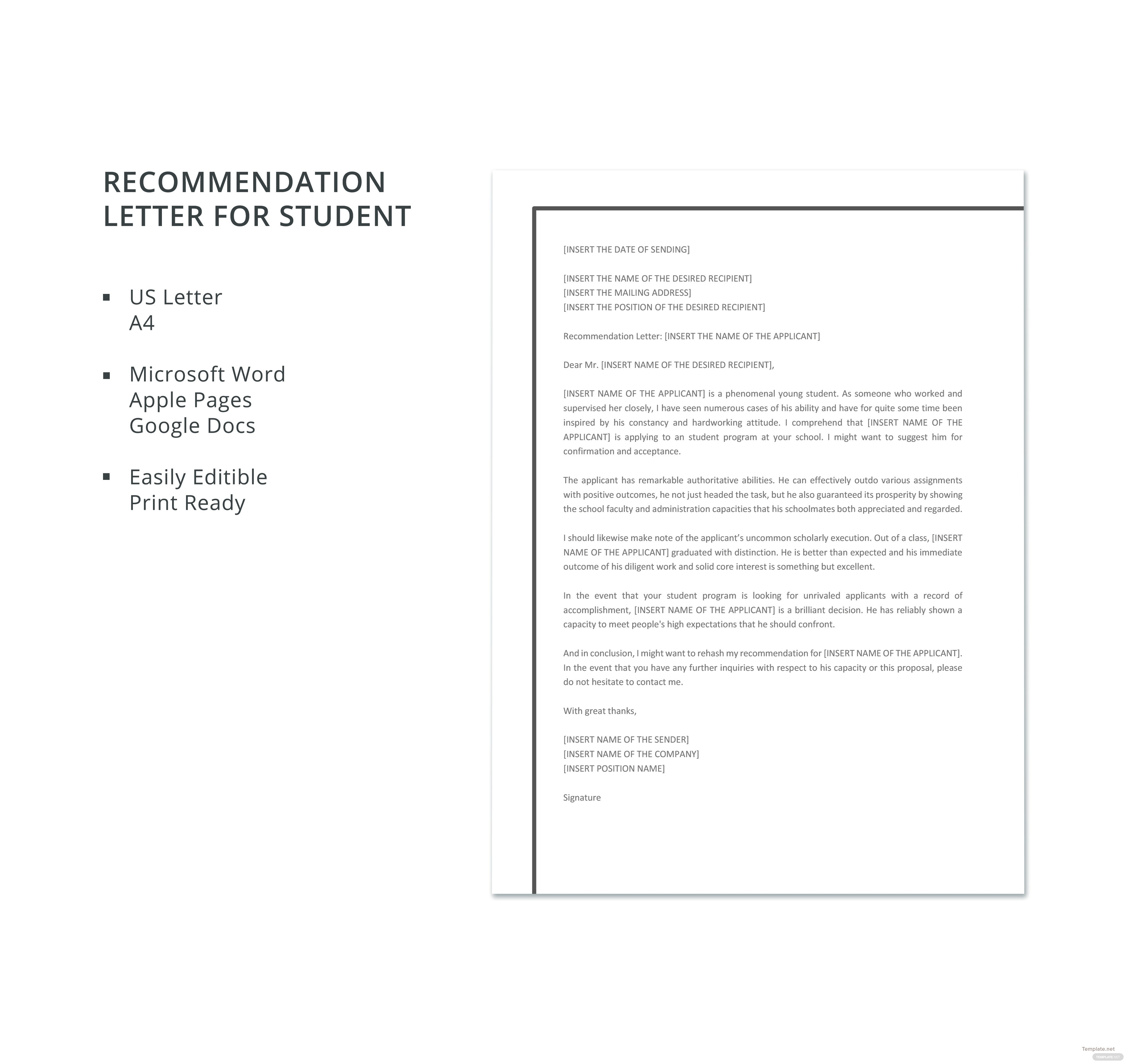 letter of recommendation for a student template