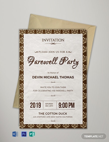 Free Farewell Invitation Template