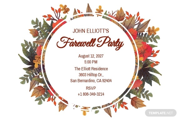 Goodbye Farewell Invitation Card Template