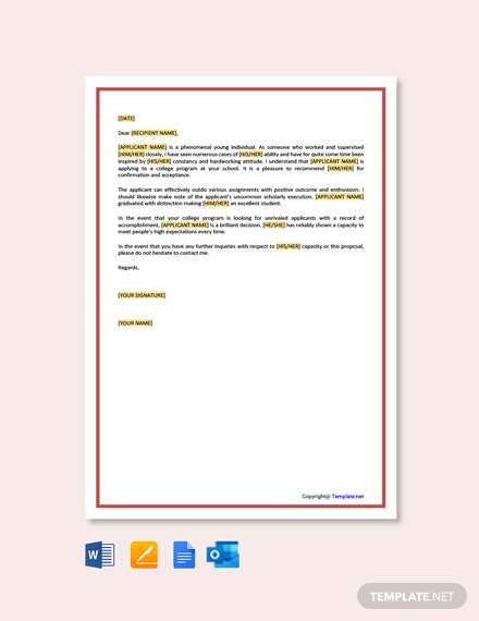 Free Recommendation Letter for College Template