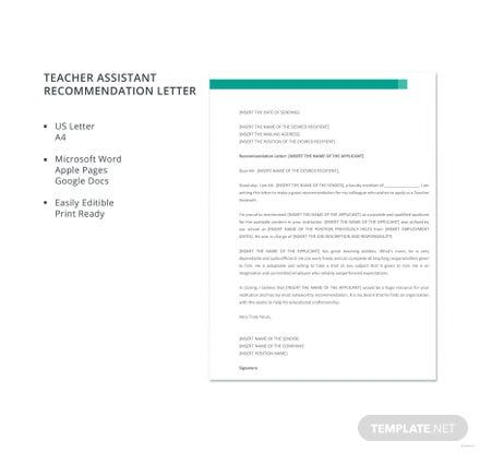 Free Assistant Teacher Recommendation Letter Template