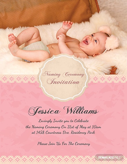 Happy Baby Naming Ceremony Invitation Card