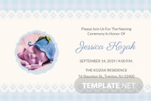 Free Wonderful Baby Naming Ceremony Invitation Card Template