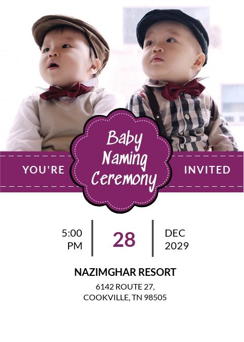 Grand Baby Name Ceremony Invitation Template