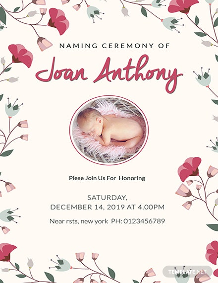 Free Happiest Naming Ceremony Invitation Template Download 344