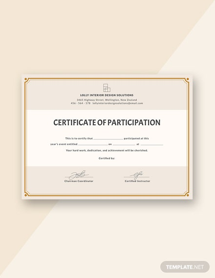 FREE Blank Participation Certificate Template Download 232