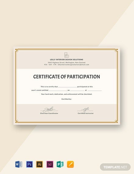 Free Blank Participation Certificate Template