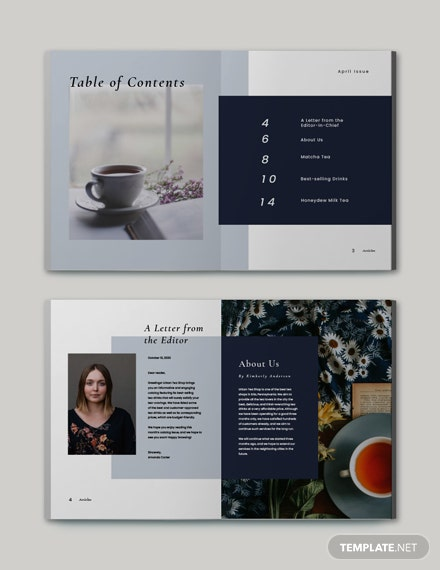 Sample Tea Store Catalog Template
