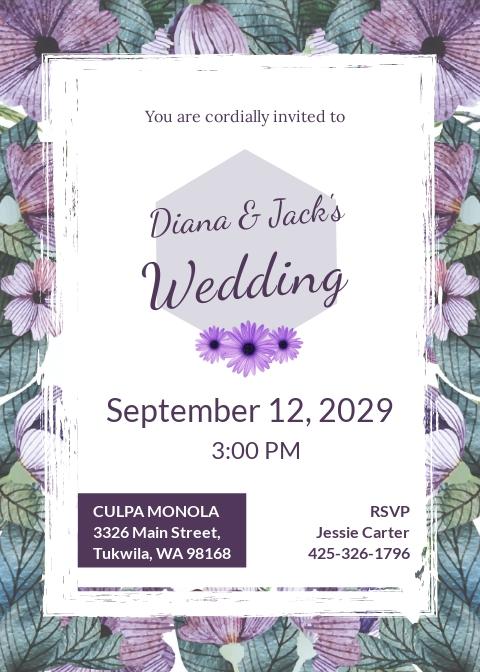 Free Watercolor Flowers Wedding Invitation Template.jpe