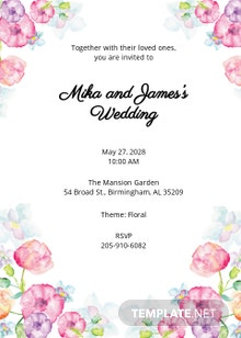 Free Watercolor Floral Wedding Invitation Template