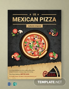 FREE Restaurant Mexican Pizza Flyer Template