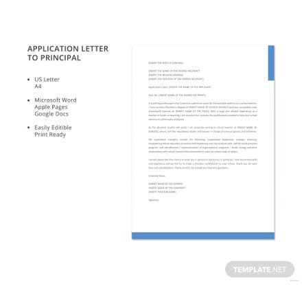 Free Application Letter to Principal Template
