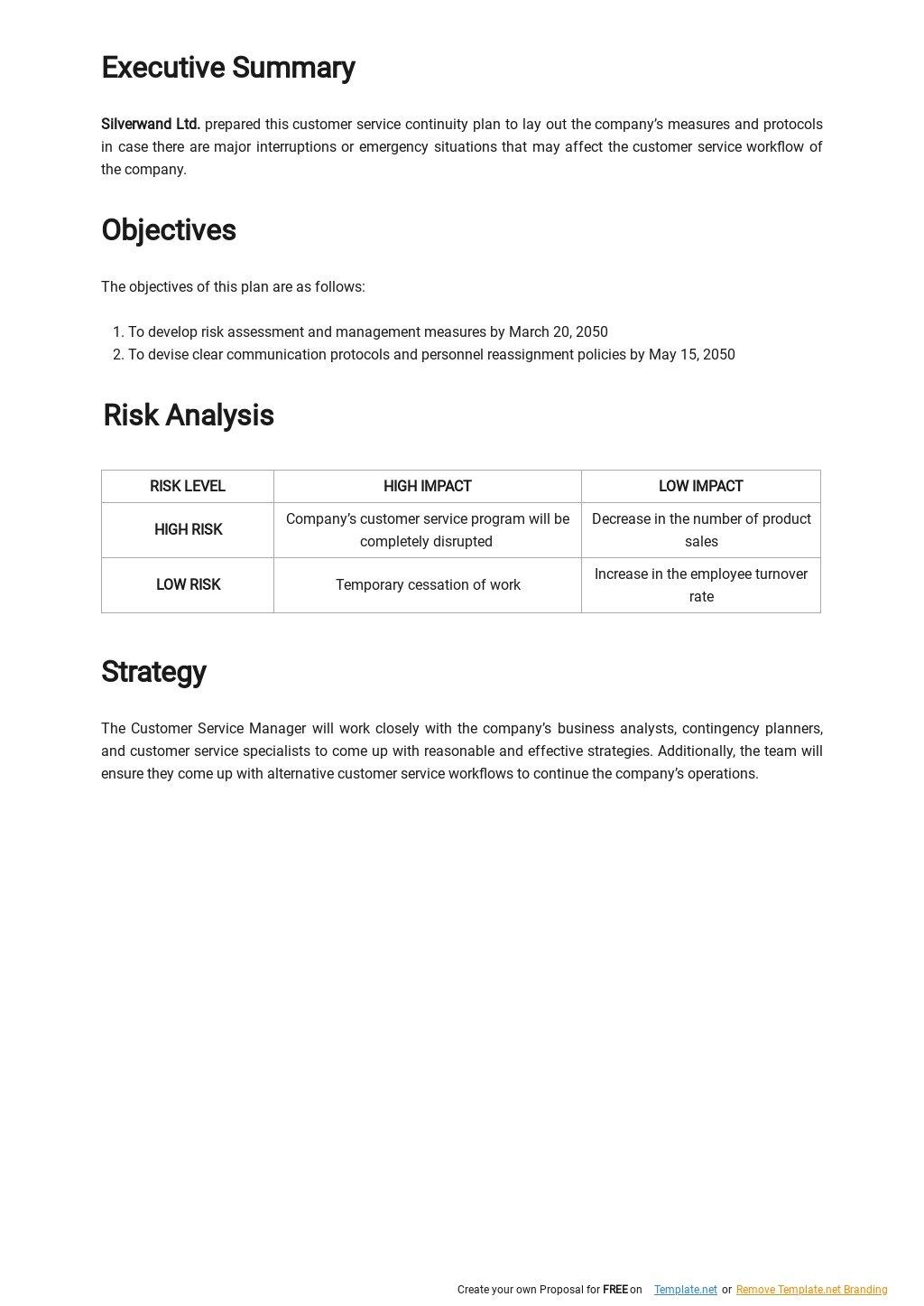 Customer Service Continuity Plan Template 1.jpe