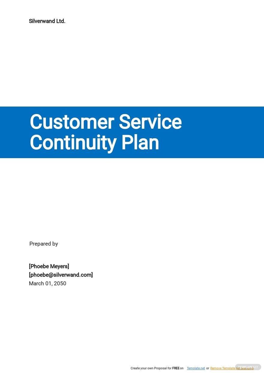Customer Service Continuity Plan Template.jpe