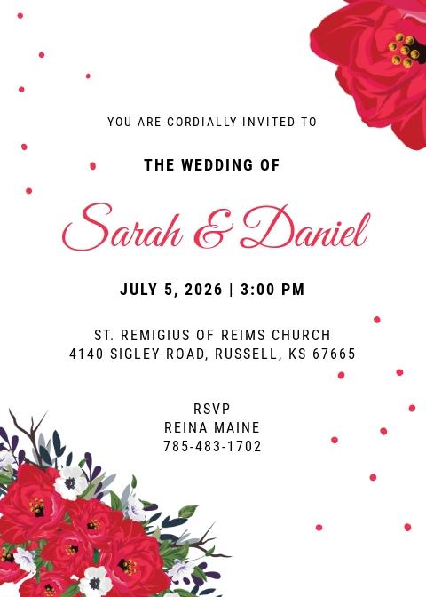 Free Sample Wedding Invitation Card Template