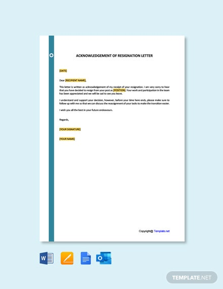 Acknowledgement-of-Resignation-Letter-Template-1 Mac Resignation Letter Template on free printable company, 2 week notice, for school aide,