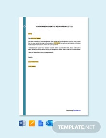 Free Acknowledgement of Resignation Letter Template