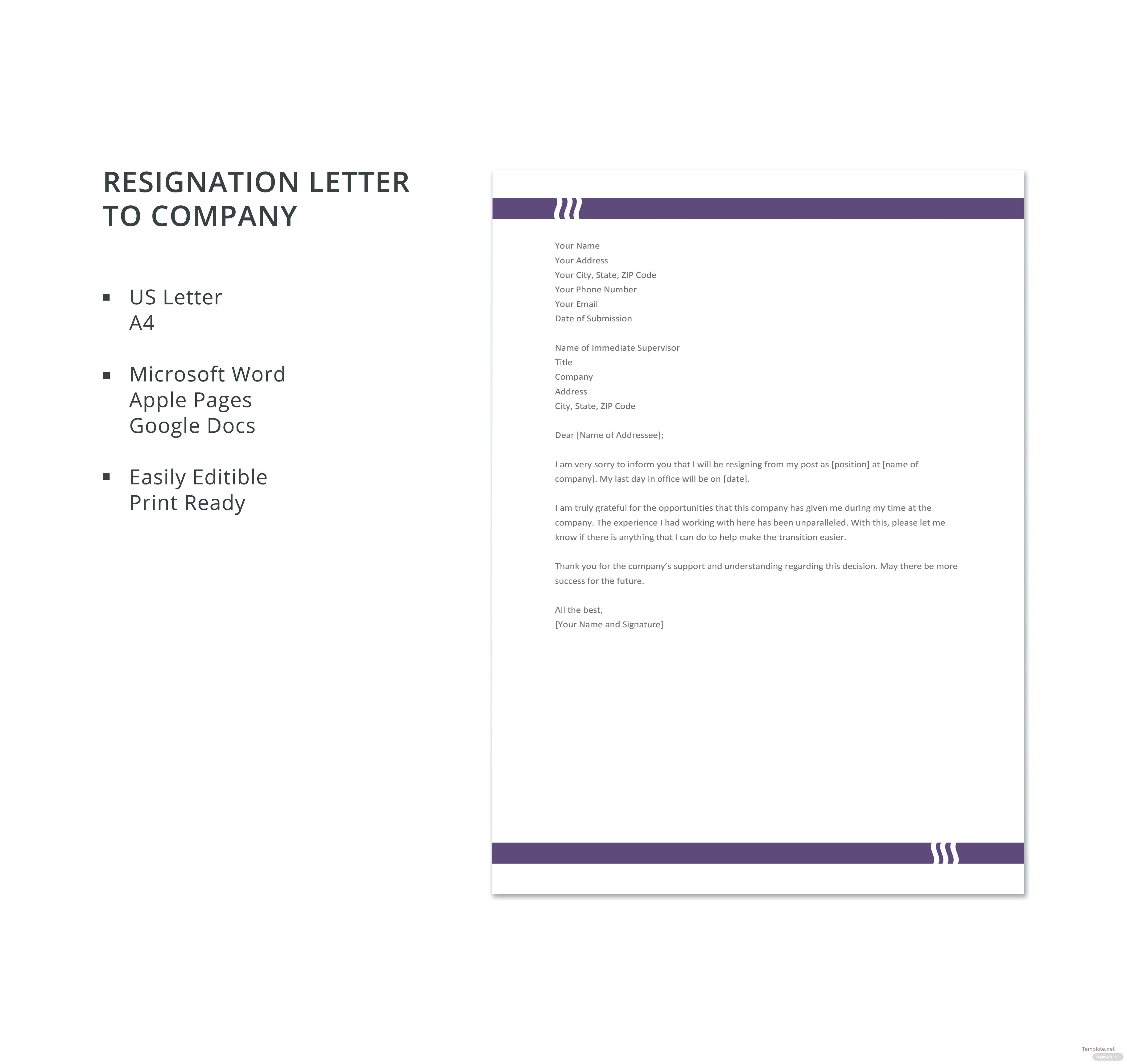 Free resignation letter to company template in microsoft word apple resignation letter to company template spiritdancerdesigns Gallery