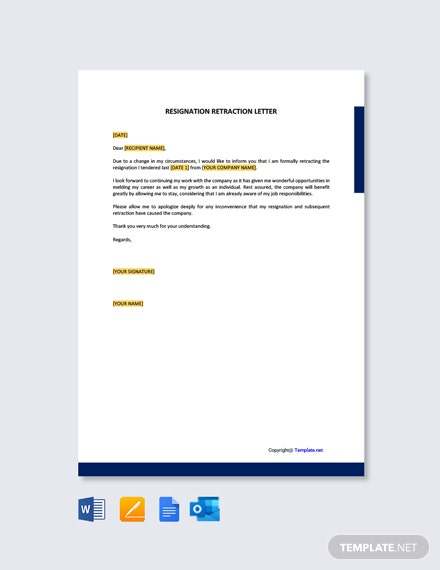 Free Resignation Retraction Letter Template
