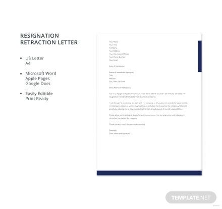 Resignation-retraction-letter-Template-440x415 Formal Board Letter Template on employee complaint, microsoft word, for kids, business thank you,