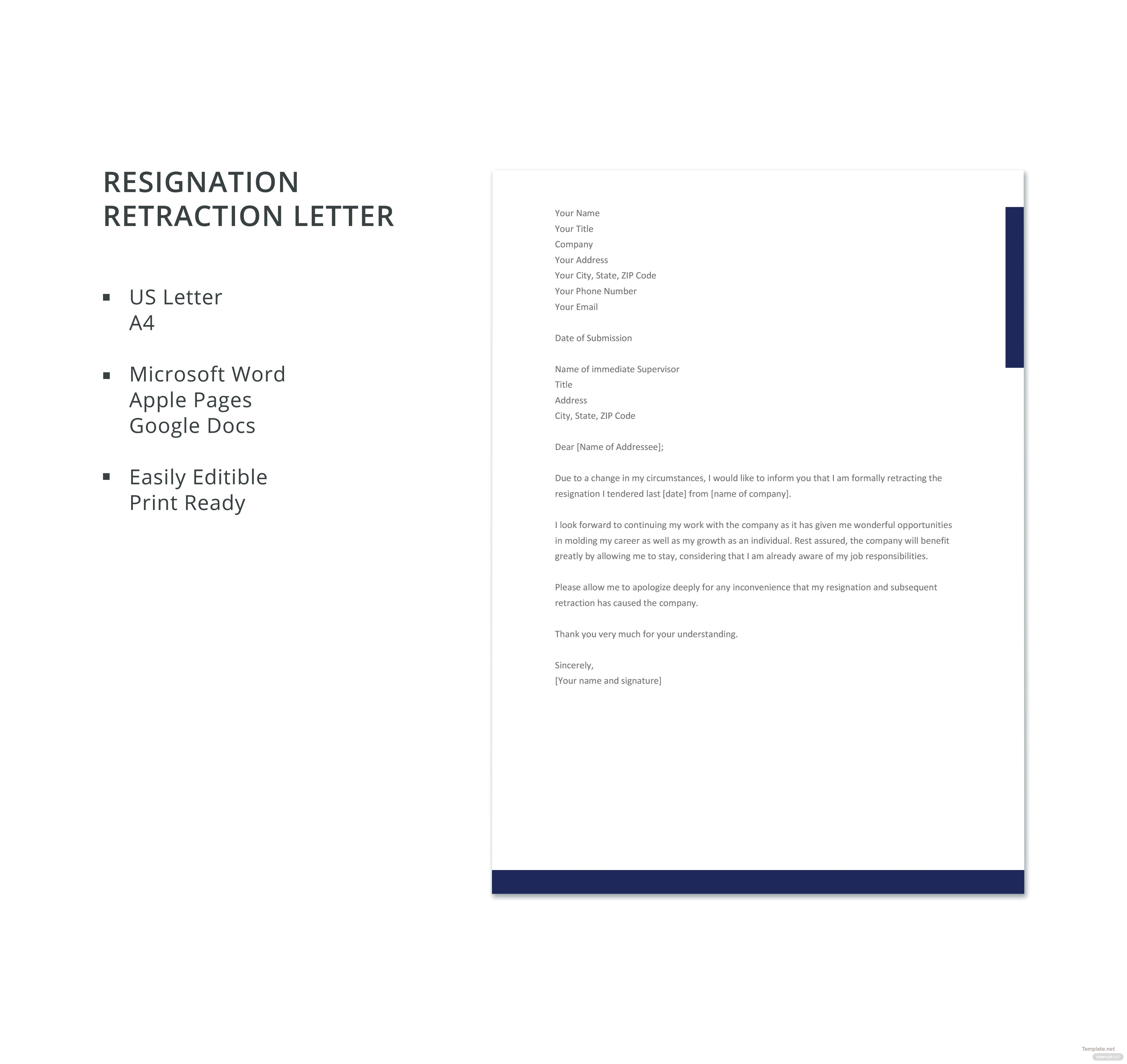 Free resignation retraction letter template in microsoft word apple resignation retraction letter template spiritdancerdesigns Gallery