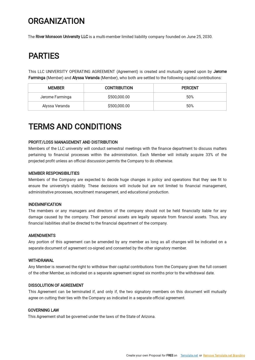 LLC University Operating Agreement Template 1.jpe