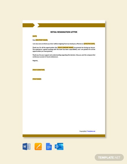 Retail-Resignation-Letter-1 Mac Resignation Letter Template on free printable company, 2 week notice, for school aide,