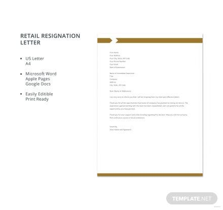 Free Retail Resignation Letter Template