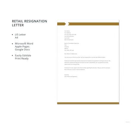 Free retail resignation letter template download 700 letters in free retail resignation letter template spiritdancerdesigns Gallery