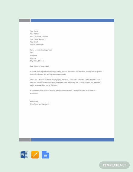 Free Retirement Resignation Letter Template