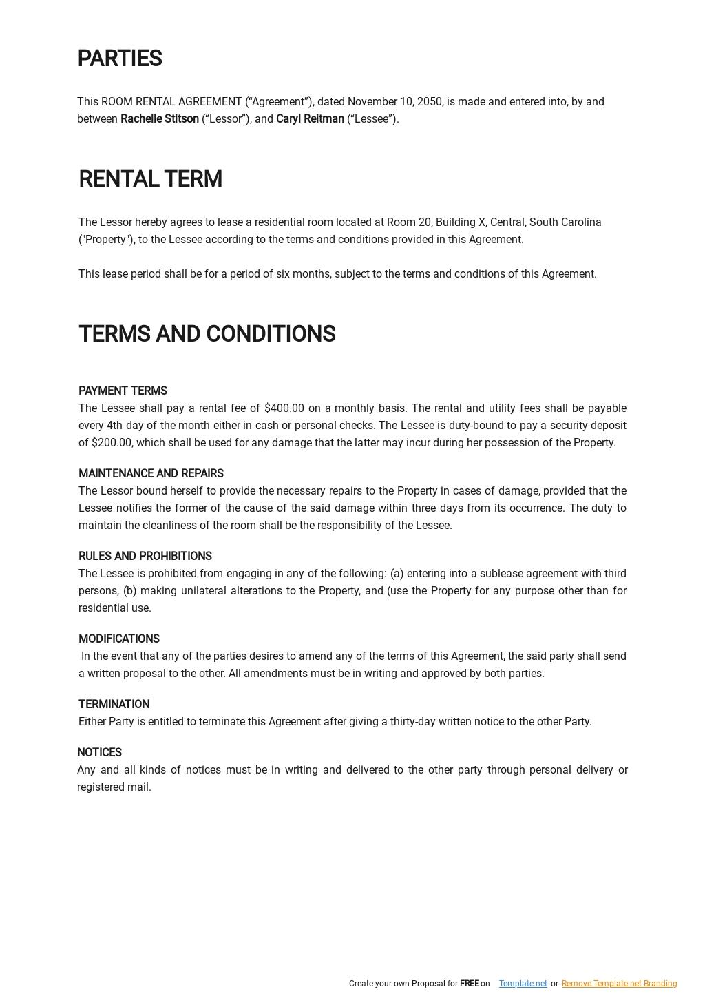 Simple Room Rental Agreement Template 1.jpe