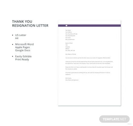 Free Thank You Resignation Letter Template