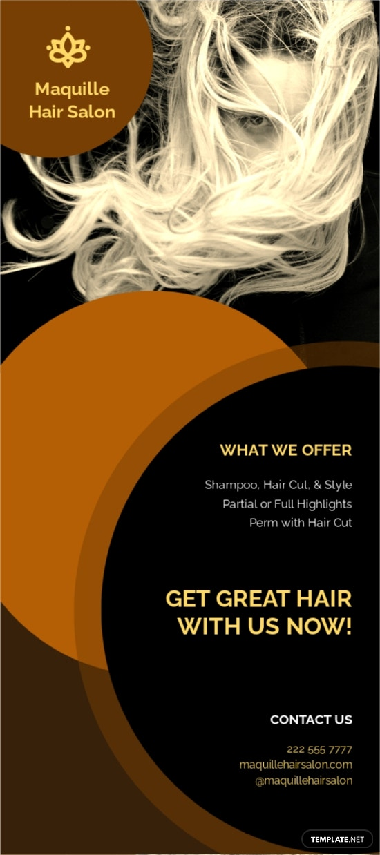 Free Hair Stylist  Salon Rack Card Template.jpe