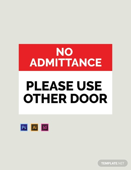 photo relating to Please Use Other Door Signs Printable named Cost-free Doorway Indicator Template - PSD InDesign Illustrator