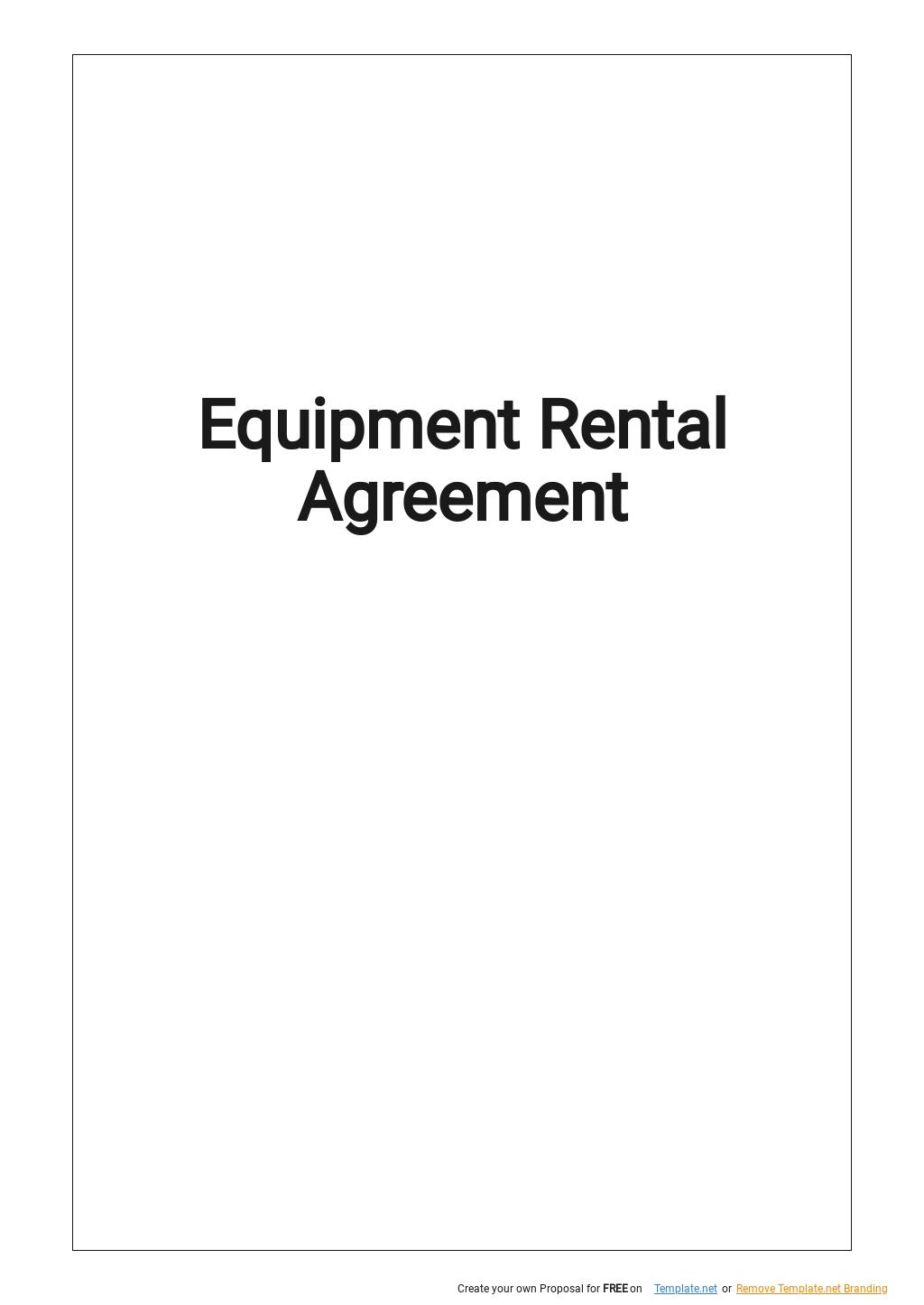 Simple Equipment Rental Agreement Template .jpe