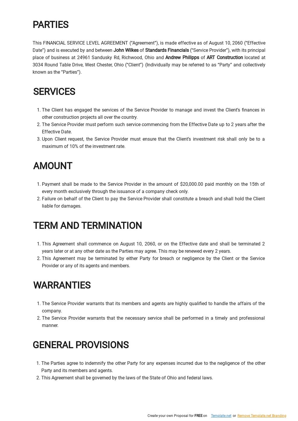 Financial Service Level Agreement Template  1.jpe