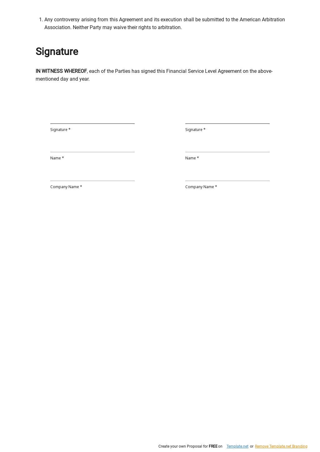 Financial Service Level Agreement Template  2.jpe