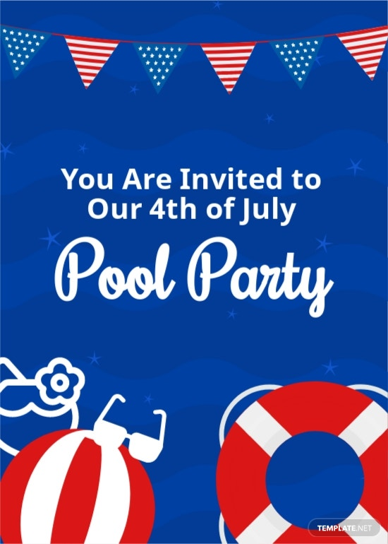 4th Of July Pool Party Invitation Template.jpe