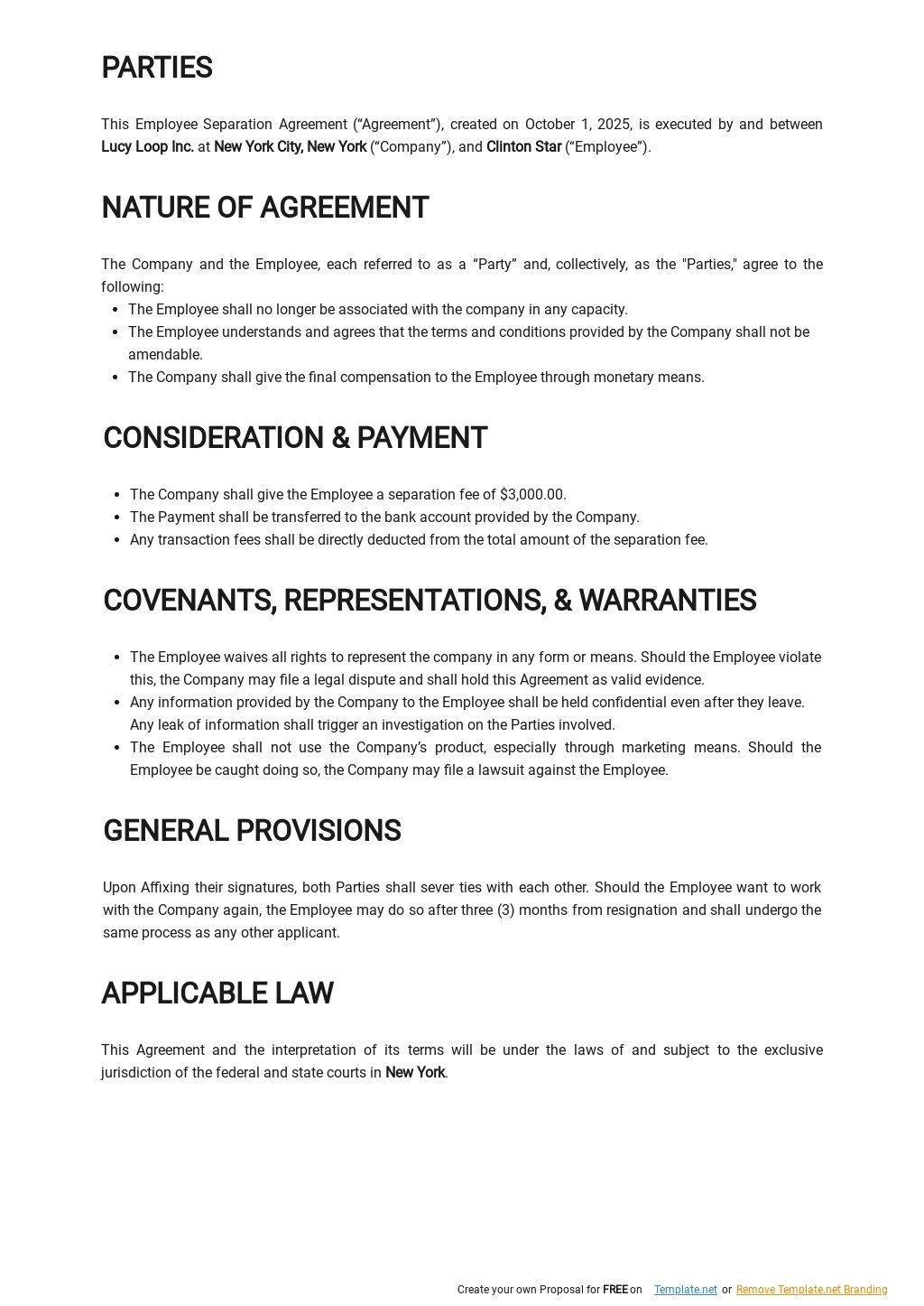 Sample Employee Separation Agreement Template 1.jpe