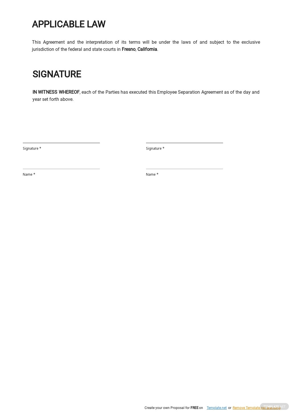Simple Employee Separation Agreement Template 2.jpe