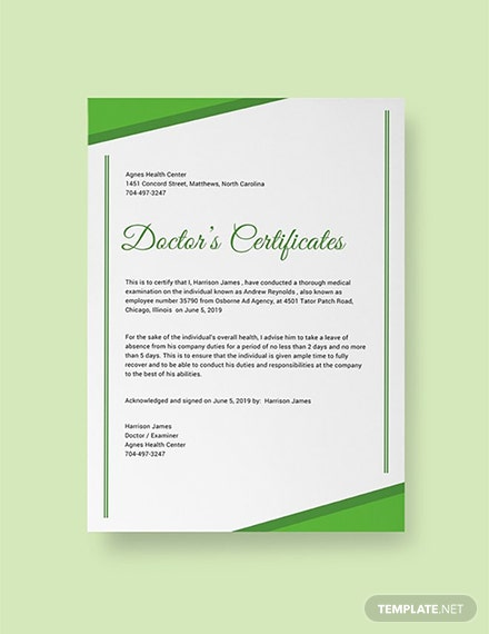 Free Doctor Certificate Template