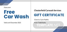 Free Carwash Gift Certificate Template