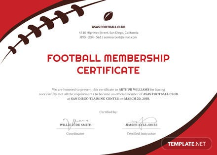 Free Football Certificate Template Download 200 Certificates In