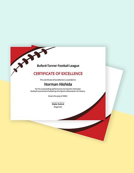 Free Football Certificate Template